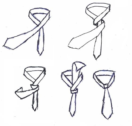 Der doppelte Krawattenknoten als Variante zum einfachen Krawattenknoten. Die Anleitung ähnelt der des einfachen Knotens nur führt man das breite Ende zweimal über das Schmale.