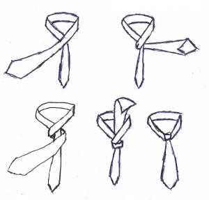 Der einfache Krawattenknoten eignet sich auch gut für Frauen zur Business-Bluse.